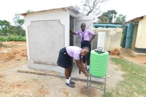 The Water Project: Namanja Secondary School -  Handwashing Station At The New Latrines