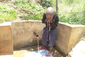The Water Project: Sharambatsa Community, Mihako Spring -  Taking A Drink