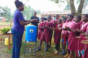 The Water Project: Kitumba Primary School -  Practicing Handwashing