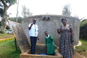 The Water Project: Erusui Girls Primary School -  Field Officer Wilson Student Mercy Head Teacher Patricia