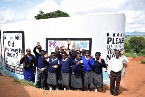 The Water Project: Kikuswi Secondary School -  Students And Staff At The Tank