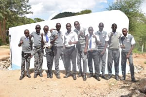The Water Project: AIC Kyome Boys' Secondary School -  Students In Front Of The New Tank