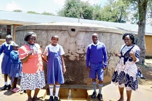 The Water Project: Mumias Complex Primary School -  Senior Teacher Pamela Olwanda Pupils Stephanie And Juma And Wash Staff Karen Maruti