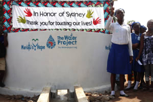 The Water Project: Mahera, SLMB Primary School -  School Head Girl Making Statement