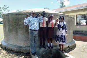 The Water Project: Shibale Secondary School -  The Principal Mr Were Webukha Linda Onyango Saniation Secretary Fabian Khakame The Saniation Prefect And Karen Maruti Wash Staff