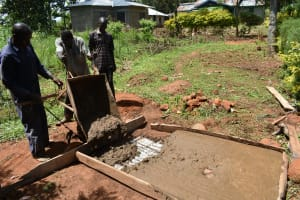 The Water Project: Ataku Community, Ngache Spring -  Casting Sanitation Platform
