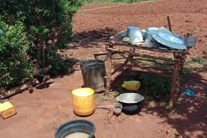 The Water Project: Emulembo Community, Gideon Spring -  Dishrack