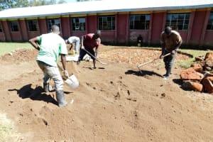 The Water Project: Mukhweya Primary School -  Preparing Sand