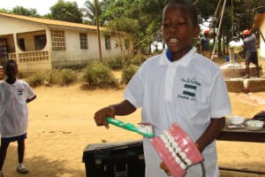 The Water Project: Tholmossor, Amputee Camp -  Toothbrushing Demonstration