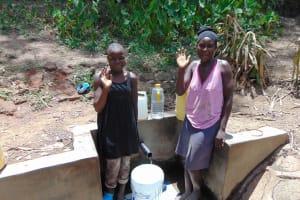 The Water Project: Bukhunyilu Community, Solomon Wangula Spring -  Sheila Wangula And Marion Shihenze