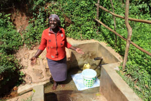 The Water Project: Jivovoli Community, Wamunala Spring -  Beatrice Chomba At The Spring