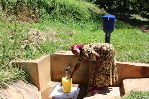The Water Project: Jivovoli Community, Gideon Asonga Spring -  Gladice Fetches Water