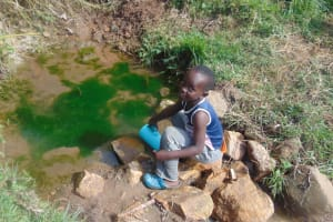 The Water Project: Mukangu Community, Metah Spring -  Child Fetches Water At The Spring