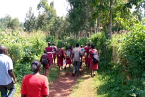 The Water Project: Ebukhuliti Primary School -  Students Enroute To The Spring