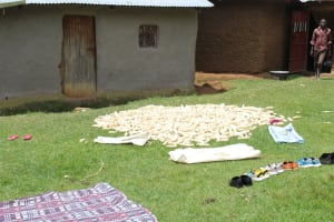 The Water Project: Kalenda B Community, Lumbasi Spring -  Maize Being Aired To Dry