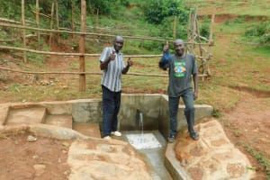 The Water Project: Mutao Community, Kenya Spring -  Thumbs Up For Running Water