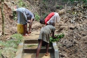 The Water Project: Shamiloli Community, Kwasasala Spring -  Cleaning The Springs Access Area