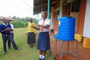 The Water Project: Ikumba Secondary School -  Leading Handwashing Practice