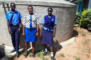 The Water Project: Samson Mmaitsi Secondary School -  Posing At The Tank