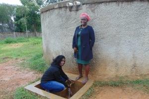 The Water Project: Shikhondi Girls Secondary School -  Sanitation Teacher Mrs Conjesta Mutanyi Right With Field Officer Laura Alulu