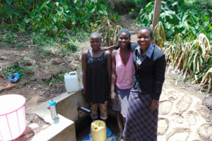 The Water Project: Bukhunyilu Community, Solomon Wangula Spring -  Sheila Marion And Field Officer Rose Serete