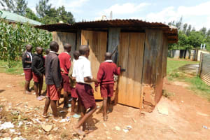 The Water Project: Ebukhuliti Primary School -  Boys In Line At Latrines