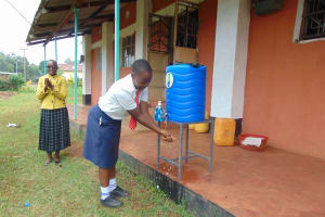 The Water Project: Ikumba Secondary School -  Handwashing Station In Use