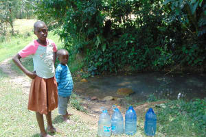 The Water Project: Bukhaywa Community, Ashikhanga Spring -  Containers Filled Time To Go Home