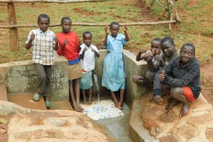 The Water Project: Mutao Community, Kenya Spring -  Children At The Spring