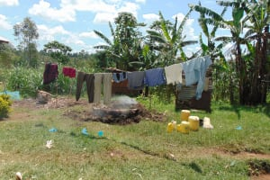 The Water Project: Bukhaywa Community, Shidero Spring -  Clothesline And Charcoal Pit Smoking