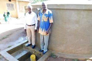 The Water Project: Bushili Primary School -  Field Officer Jonathan Mutai With Head Teacher Ronald Mashishia