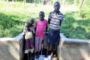 The Water Project: Ingavira Community, Laban Mwanzo Spring -  Rael On Right With Other Children