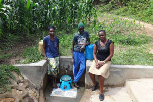 The Water Project: Masera Community, Salim Hassan Spring -  Beatrice Agatious And Field Officer Mary Afandi