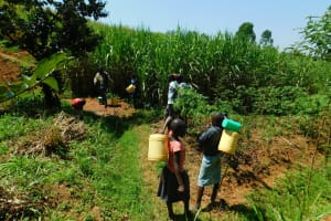 The Water Project: Ewamakhumbi Community, Mukungu Spring -  Children Headed To The Spring
