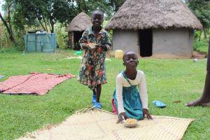 The Water Project: Kalenda B Community, Lumbasi Spring -  Children Enjoying Lunch