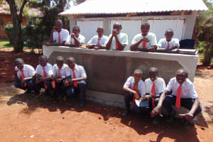 The Water Project: Ikumba Secondary School -  Boys Pose With New Latrines