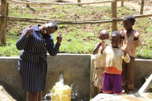 The Water Project: Shamiloli Community, Kwasasala Spring -  Team Leader Catherine Chepkemoi With Children