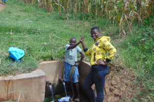 The Water Project: Burachu B Community, Shitende Spring -  Lucy With Field Officer Jemmimah Khasoha