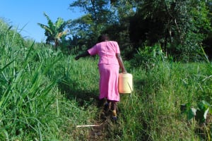 The Water Project: Emurumba Community, Makokha Spring -  Grace Carries Water Home