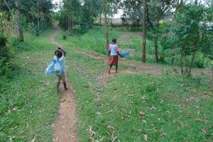 The Water Project: Bukhaywa Community, Ashikhanga Spring -  Children Heading To The Spring