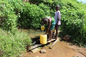 The Water Project: Kalenda A Community, Webo Simali Spring -  Fetching Water At The Spring