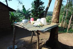 The Water Project: Maondo Community, Ambundo Spring -  Dishrack