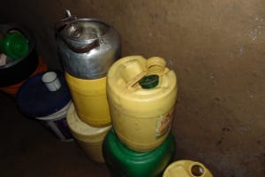 The Water Project: Rosterman Community, Lishenga Spring -  Water Containers
