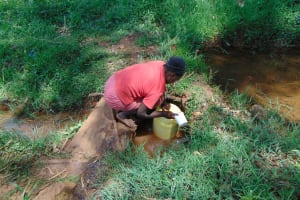 The Water Project: Jivovoli Community, Magumba Spring -  Filling Container With Water