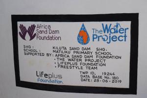 The Water Project: Matiliku Primary School -  Plaque