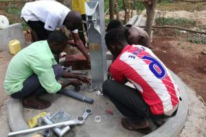 The Water Project: Kikube Nyabubale Community -  Pump Installation