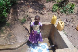 The Water Project: Matsakha Community, Siseche Spring -  Getting A Drink From The Spring