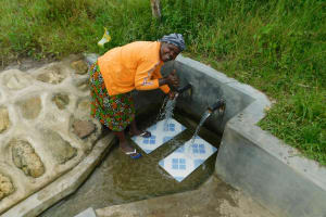 The Water Project: Muyundi Community, Ngalame Spring -  Alice Mungasia At The Spring