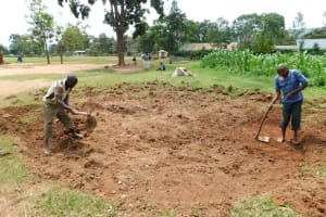 The Water Project: Kimangeti Primary School -  Clearing The Rain Tank Site