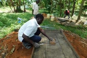 The Water Project: Ikonyero Community, Amkongo Spring -  Sanitation Platform Construction